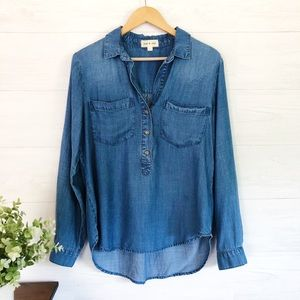 Anthro, Cloth & Stone Blue Button Popover Top 488